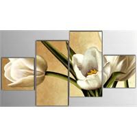 Tictac 4 Parça Kanvas Tablo - Beyaz Çiçekler