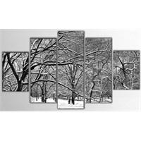 Tictac 5 Parça Kanvas Tablo - Karlı Orman - 100X60 Cm