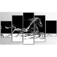 Tictac 5 Parça Kanvas Tablo - Koşan At - 100X60 Cm