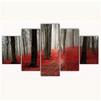 Tictac 5 Parça Kanvas Tablo - Kırmızı Yapraklar - 100X60 Cm