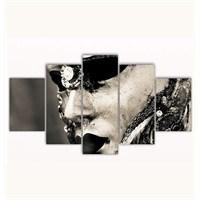 Tictac 5 Parça Kanvas Tablo - Maske - 100X60 Cm