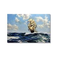 Tictac Fırtınada Yelkenli 2 Kanvas Tablo - 50X75 Cm