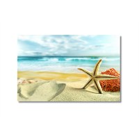 Tictac Kumsal Ve Deniz Yıldızı Kanvas Tablo - 40X60 Cm