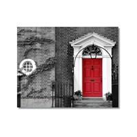 Tictac Kırmızı Kapılı Ev Kanvas Tablo - 60X90 Cm