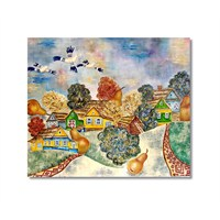 Tictac Renkli Evler 2 Kanvas Tablo - 70X70 Cm