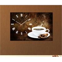 Tabloshop - Kahve Tarçın Canvas Tablo Saat - 45X30cm