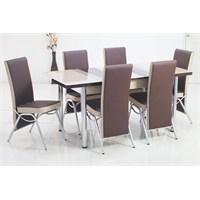 İndirimzade Mutfak Masa Takımı Yemek Masası Açılır Masa 6 Sandalye -Kahve