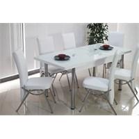 İndirimzade Mutfak Masa Takımı Yemek Masası Açılır Masa 6 Sandalye -Beyaz