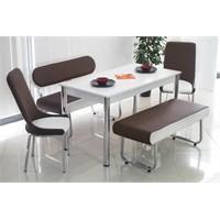 Teknoset Bank Takımı Banklı Mutfak Masa Takımı Yemek Masası - Kahverengi