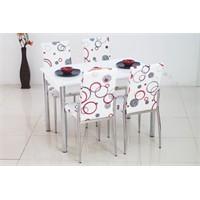 İndirimzade Mutfak Masa Takımı Yemek Masası Masa Sandalye - Kırmızı Halka