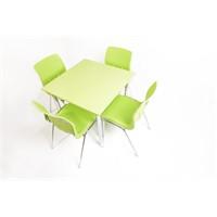 Mavi Mobilya Plastik Masa Takımı Prst023 4 Plastik Sandalyeli Yeşil