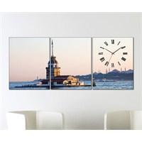 Tabloshop - Kız Kulesi 3 Parçalı Canvas Tablo Saat - 96X40cm
