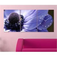 Tabloshop - Purple Flower 3 Parçalı Canvas Tablo Saat - 96X40cm