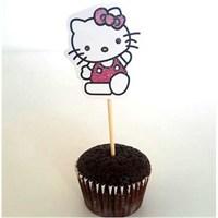 Parti Şöleni Hello Kitty Kürdan Süs 10 Adet