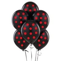 Parti Şöleni Siyah Üzerine Kırmızı Puanlı Balon 20 Adet