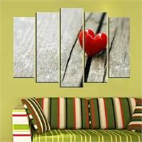 Canvastablom B169 Kalp Siyah Beyaz Parçalı Tablo