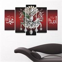 Canvastablom Osmanlı Tuğrası 5 Parçalı Kanvas Tablo