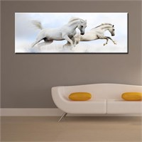 Canvastablom Pnr130 Beyaz Atlar Panoramik Canvas Tablo