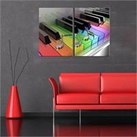 Canvastablom İ511 Renkli Piyano Tuşları Parçalı Tablo