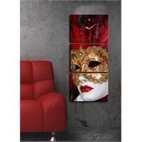 3 Parça Kanvas Saat - Kırmızı Tüylü Mask