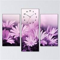 Tabloshop - Purple Flowers 3 Parçalı Simetrik Canvas Tablo Saat - 80X60cm