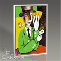 Pluscanvas - Marinne Vias - Man Playing Cards Tablo