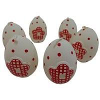 Yumurta Şeklinde 6 Lı Beyaz Mum
