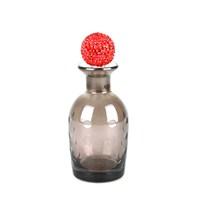 Dekoratif Şişe Daire Kabartmalı Kırmızı Taşlı Kapaklı