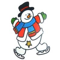 Kaykay Yapan Kardan Adam Desenli Cama Yapışan Sticker