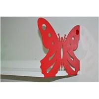 Kelebek Raf ve Kitaplık Seti 20 X 60 Kırmızı + P.Beyaz