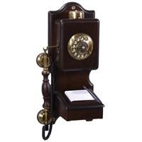 Notluklu Antik Duvar Ahşap Telefon