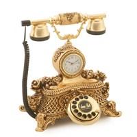 Saatli Güllü Varaklı Altın Telefon