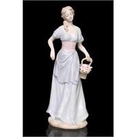 Beyaz Elbiseli Kadın Figürlü Porselen Biblo