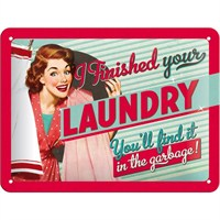 Finished Your Laundry Metal Kabartmalı Pin Up Duvar Panosu