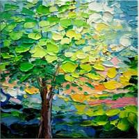 Yağlıboya Yeşil Ağaç Kanvas Tablo