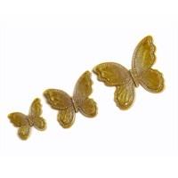 3 lü Dekoratif Taşlı Kelebek Sarı