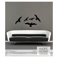 Kadife Duvar Stıcker Kuşlar-1 5 Adet Kuş