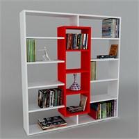 Dekorister Ample Kitaplık Beyaz/Kırmızı