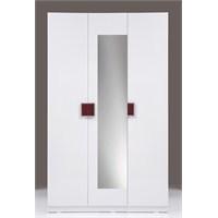 Kenyap Plus 814748 Stella AYNALI Askılıklı&Raflı Üç Kapılı Sonsuz Gardırop-Parlak Beyaz