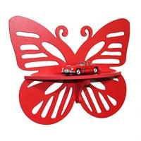Prado Bibloluk Dekoratif Duvar Rafı, Kelebek Kırmızı