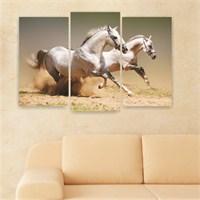 Dekoriza Beyaz Atlar 3 Parçalı Kanvas Tablo 80X50cm