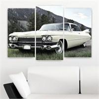 Dekoriza Klasik Beyaz Chevrolet Araba 3 Parçalı Kanvas Tablo 80X50cm