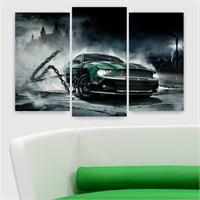 Dekoriza Yeşil Ford Mustang Araba 3 Parçalı Kanvas Tablo 80X50cm