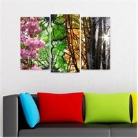 Dekoriza 4 Mevsim Ağaç Yaprakları 3 Parçalı Kanvas Tablo 80X50cm