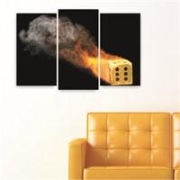 Dekoriza Ateşle Zar 3 Parçalı Kanvas Tablo 80X50cm