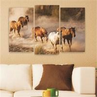 Dekoriza Atlar 3 Parçalı Kanvas Tablo 80X50cm