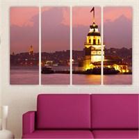 Dekoriza İstanbul Kız Kulesi 4 Parçalı Kanvas Tablo 147X90cm