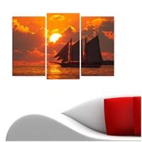 Dekoriza Gün Batımı & Yelkenli 3 Parçalı Kanvas Tablo 80X50cm