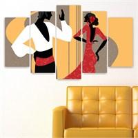 Dekoriza İspanyol Dansı 5 Parçalı Kanvas Tablo 110X60cm