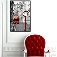 Londra Otobüs - Çerçeveli Kanvas Saat